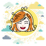 Caucasian type girl face expressing positive emotions, vector hu Royalty Free Stock Photo