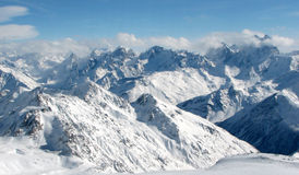 Caucasian view. sky and snow. Caucasian mountains from the mt elbrus. russia Stock Photo