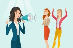Caucasian vit feminist som ropar in i en megafon royaltyfri illustrationer