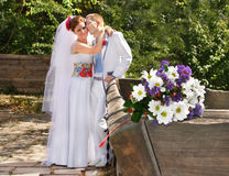 Caucasian wedding couple Royalty Free Stock Photo