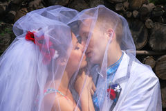 Caucasian wedding couple Stock Images