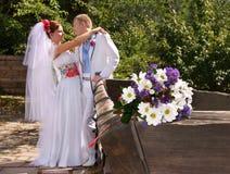Caucasian wedding couple Stock Images