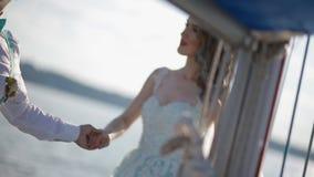 Caucasian wedding couple on the yacht stock video