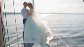 Caucasian wedding couple on the yacht stock video footage