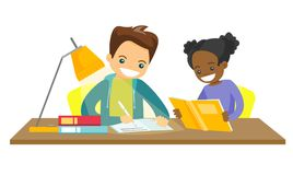 Biracial brother and sister doing homework. Caucasian white brother and african sister sitting at the table and doing homework together. Girl reading a book vector illustration