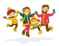 Caucasian family jumping in the snow in winter. Stock Images