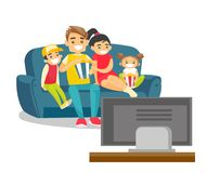 Caucasian white family watching television at home. Happy caucasian white parents with their kids sitting on the couch, eating popcorn and watching television vector illustration