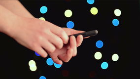 Caucasian white female hands holding smart phone device with touch screen stock footage