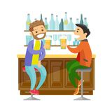 Caucasian white friends drinking beer in a bar. Two young happy caucasian white men drinking beer at the bar counter and clinking glasses. Cheerful male friends Royalty Free Stock Images