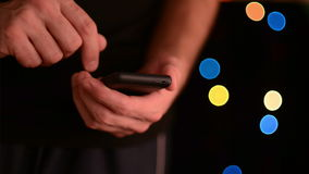 Caucasian white male hands holding smart phone device with touch screen stock footage