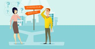 Confused man and woman choosing career pathway. Caucasian white man and asian woman standing at the crossroad with two career pathways - entrepreneur and Royalty Free Stock Image