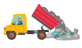Worker and bulldozer at rubbish dump. Caucasian white man driving a garbage truck and unloading waste on a rubbish dump. Worker dumping the rubbish on a stock illustration