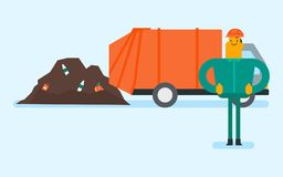 Caucasian worker and bulldozer at rubbish dump. Caucasian white man standing on the background of garbage truck unloading waste on a rubbish dump. Worker Stock Images