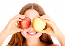 Caucasian woman with the apples Stock Photos