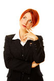Caucasian woman as hotel worker thinking Stock Photos