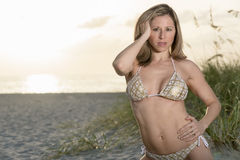 Caucasian woman in the beach Stock Images