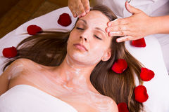 Caucasian woman at the beautician. Royalty Free Stock Photos