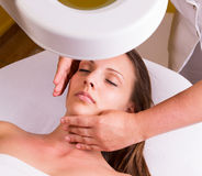 Caucasian woman at the beautician. Stock Image