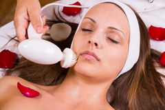 Caucasian woman at the beautician. Stock Photos