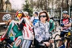 Caucasian woman bicyclist at opening of the cycling season in th Stock Photo