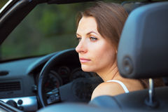 Caucasian woman in a cabriolet Royalty Free Stock Image