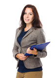 Caucasian woman with clipboard Royalty Free Stock Photo