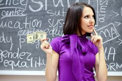 Caucasian woman with dollar note Royalty Free Stock Photo