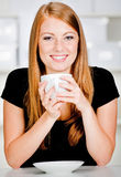 Caucasian Woman with Drink Royalty Free Stock Photography