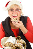 Caucasian woman eating traditional cake Stock Photos