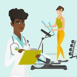 Caucasian woman exercising on elliptical trainer. Young caucasian white woman doing exercises on elliptical trainer and african doctor physiotherapist writing stock illustration