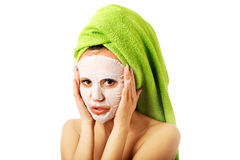Caucasian woman with face mask Stock Photography