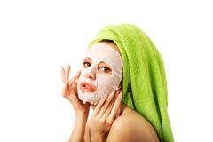 Caucasian woman with face mask Royalty Free Stock Images