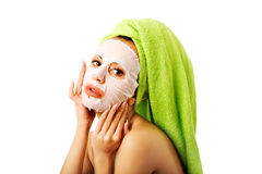 Caucasian woman with face mask Stock Photo