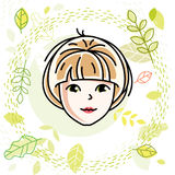 Caucasian woman face, vector human head illustration.. Attractive blonde female with stylish haircut Stock Photography