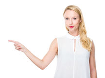 Caucasian woman with finger point up Royalty Free Stock Image