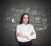 Caucasian woman generating business ideas Royalty Free Stock Images