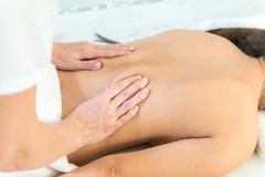 Caucasian woman getting medical massage Royalty Free Stock Photo
