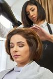 Caucasian woman in hair salon. royalty free stock photo