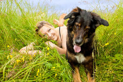 Caucasian woman with her dog Stock Photo