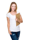 Caucasian woman hold with clipboard Royalty Free Stock Photo
