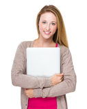 Caucasian woman hold with notebook computer Stock Photos
