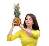 Caucasian woman hold Pineapple fruit smiling healthy and joyful Royalty Free Stock Images