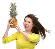Caucasian woman hold Pineapple fruit smiling healthy and joyful Stock Photography