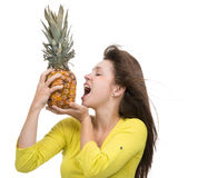 Caucasian woman hold Pineapple fruit smiling healthy and joyful Stock Photo