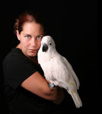Caucasian Woman Holding Bird Royalty Free Stock Images