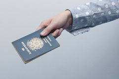 Caucasian Woman holding a brazilian passport Stock Photos