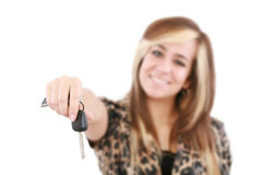 Caucasian woman holding car key Royalty Free Stock Images