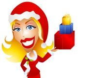 Caucasian Woman Holding Christmas Gifts stock illustration