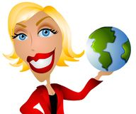 Caucasian Woman Holding Earth stock illustration