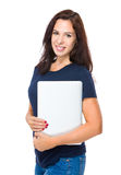 Caucasian woman with laptop computer Royalty Free Stock Image